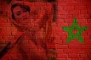 Bandera de Marruecos en la pared de ladrillo