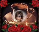 Reflection cup of coffee Roses Scene