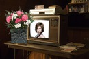 Old style Television Bunch of flowers Scene