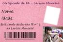 Certificado de fã- Larissa Manoela